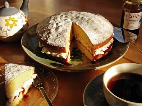 elderberry Victoria sponge cake